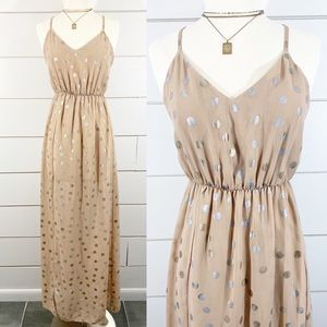 Judith March Beige Metallic Polka Dot Maxi Dress